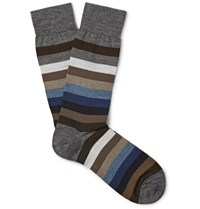 Marcoliani Striped Merino Wool Blend Socks Blue