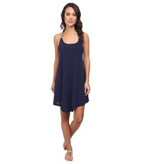 Lucky Brand Tribal Wave Dress Cover Up Indigo Women's Swimwear Blue