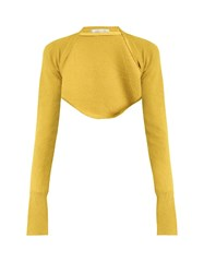 Palmer Harding Open Front Cropped Knit Top Yellow