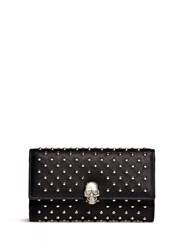 Alexander Mcqueen Skull Charm Stud Leather French Wallet Black