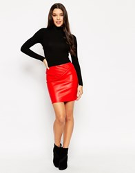 Asos Leather Look Mini Skirt With 80'S Waist Red