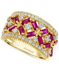 Effy Collection Effy Ruby 1 3 4 Ct. T.W. And Diamond 5 8 Ct. T.W. Ring In 14K Rose Gold