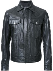 Diesel Multi Patch Leather Jacket Black