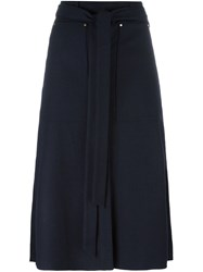 Tibi Wrap Fitted Skirt Blue