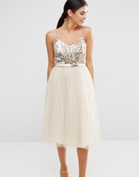 Little Mistress Bandeau Skater Dress With Sequin Body Cream Gold
