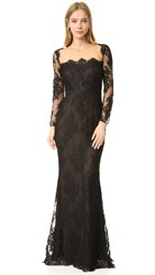 Marchesa Long Sleeve Lace Gown Black