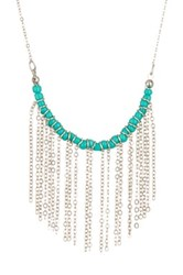 Madison Parker Fringe Beaded Necklace Blue