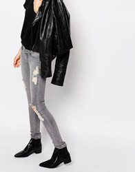 Cheap Monday Slim Low Rise Jeans With Distressing Gray