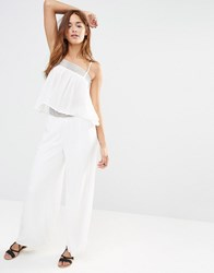 Missguided Crochet Waist Wide Leg Trousers White