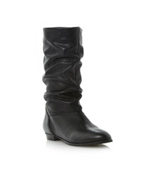 Dune Relissa Slouch Calf Boots Black Leather