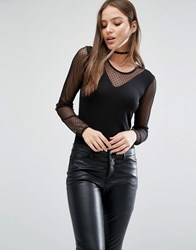 Selected Femme Runa Mesh Body With Long Sleeves Black