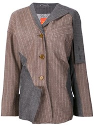 Vivienne Westwood Red Label Asymmetric Pinstripe Blazer Brown