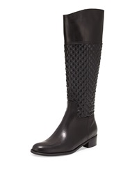 Sesto Meucci Kaitlin Quilted Leather Knee Boot Black