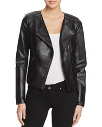 Guess Shaun Faux Leather Cropped Jacket Jet Black