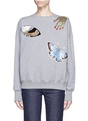 Alexander Mcqueen Obsession Charm Sequin Embellished Fleece Sweatshirt Grey