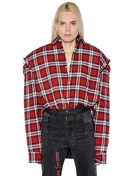 Vetements Football Shoulder Plaid Flannel Shirt