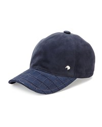 Stefano Ricci Croc Detail Baseball Hat Blue Brown