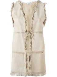P.A.R.O.S.H. Fringed Sleeveless Jacket Nude And Neutrals