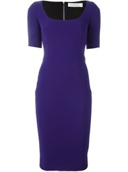 Victoria Beckham Fitted Midi Dress Pink And Purple