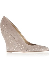 Oscar De La Renta Champa Embellished Suede Wedge Pumps Brown