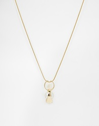 Warehouse Faux Pearl And Ring Pendant Necklace Gold