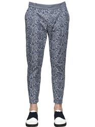 Antonio Marras Printed Ankle Length Cotton Twill Pants Blue