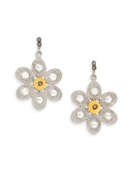 Coomi Silver Opera Diamond Crystal 20K Yellow Gold And Sterling Silver Flower Drop Earrings