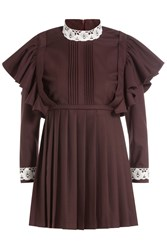 Vetements Dress With Virgin Wool And Lace Brown