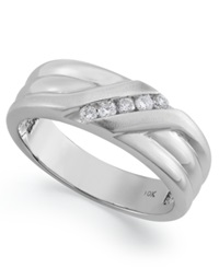 Macy's Men's Five Stone Diamond Ring In 14K White Gold 1 6 Ct. T.W.