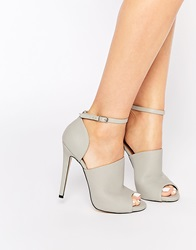 Truffle Collection Rita Mule Ankle Strap Heeled Shoes Greypu