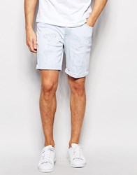 Asos Skinny Denim Shorts In Light Bleach Wash With Abrasions Bleach Blue
