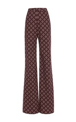 Holly Fulton Printed Bard Flared Trousers Burgundy
