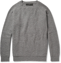 The Elder Statesman Textured Knit Cashmere Sweater Gray