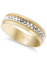 Macy's Men's 10K Gold And 10K White Gold Ring Two Tone Wedding Band 6Mm