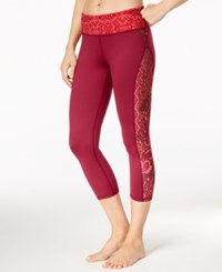 Gaiam Luxe Printed Capri Yoga Leggings Bright Wine Patchwork