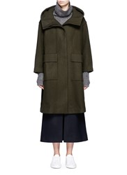 Ffixxed Studios 'Open Space' High Side Split Hooded Coat Green
