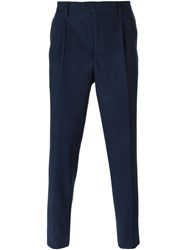 Massimo Piombo Zig Zag Pattern Tailored Trousers Blue