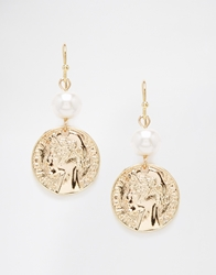 Designsix Coin And Pearl Drop Earrings Gold