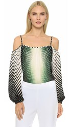 Tamara Mellon Cold Shoulder Peasant Blouse Multi Green