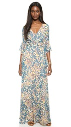 Bcbgmaxazria Long Sleeve Floral Dress Blue Graphite Combo