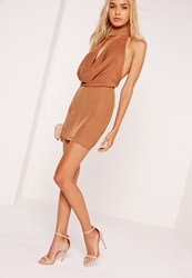 Missguided Silky Choker Neck Cowl Shift Dress Brown Brown