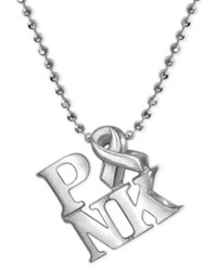 Alex Woo Pink Ribbon Pendant Necklace In Sterling Silver
