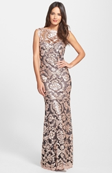 Tadashi Shoji Sequin Lace Mermaid Gown Antique Pink