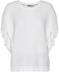 Soaked In Luxury Cotton Jumper With Fringed Detailing White