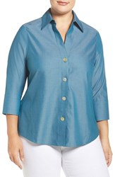 Foxcroft Plus Size Women's 'Paige' Non Iron Cotton Shirt Peacock