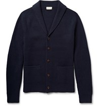 Club Monaco Shawl Collar Elbow Patch Merino Wool Cardigan Blue