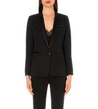 The Kooples Satin Trim Single Breasted Stretch Wool Jacket Black