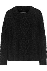 Maison Martin Margiela Chunky Cable Knit Wool Blend Sweater Black