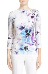 Women's St. John Collection Ethereal Floral Print Jersey Tee