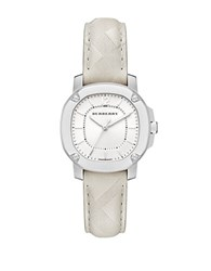 Burberry The Britain Stainless Steel And Embossed Leather Strap Watch Cream
